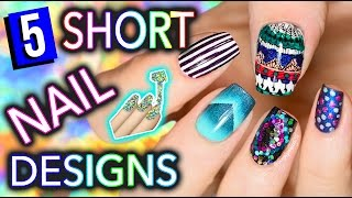 5 Easy Nail Art Designs for SHORT NAILS (Holosexuals)   PART #1