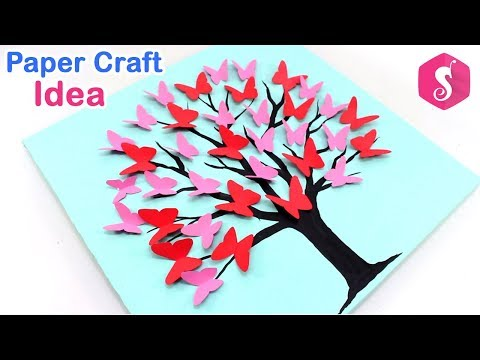 Paper Craft Idea | Make 3D Butterfly Tree Wall Showpiece for Wall Decor