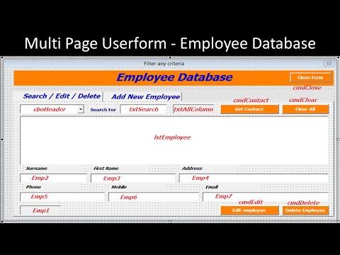 Multi Page Userform – Employee Database