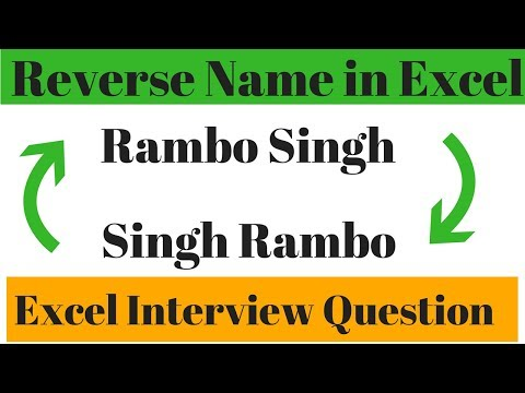Reverse Name in Excel Hindi ✅