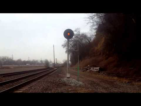 Union Pacific searchlight signal goes through multiple signal aspects