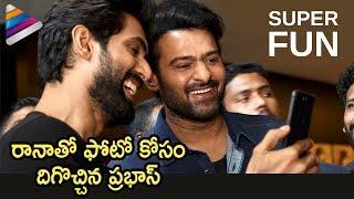 Prabhas and Rana Daggubati Super Fun at Nene Raju Nene Mantri AR Standee | Telugu Filmnagar