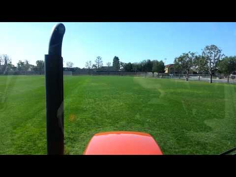 Trimax mower laying down stripes on soccer field