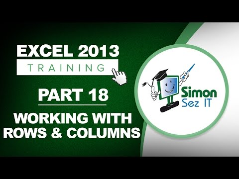Excel 2013 for Beginners Part 18: How to Insert, Delete, Hide Rows and Columns