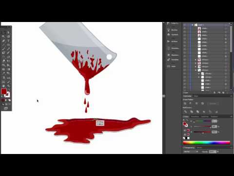 chopper butcher knife with blood for halloween. Adobe illustrator tutorial.