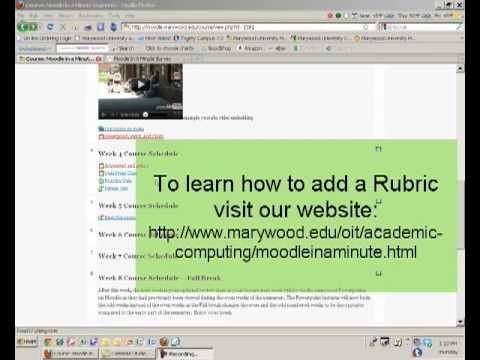 Moodle in a Minute- Grading with a Rubric