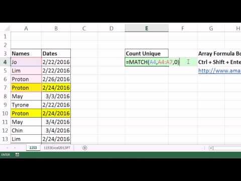 Excel Magic Trick 1153: Unique Count For Name & Date: Array Formula, 2013 PivotTable, More…