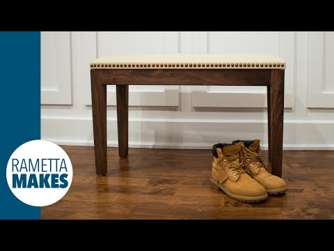 How to Make a Walnut Sitting Bench with Leather Seat // DIY