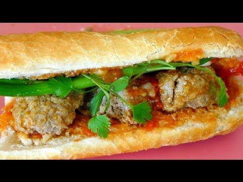 Vietnamese Meatball Sandwich Recipe - Bánh Mì Xíu Mại