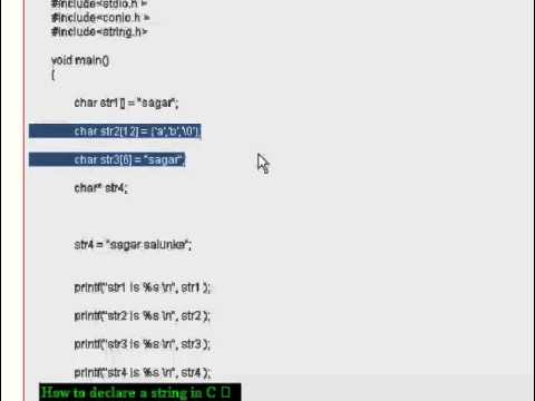 How to declare a string in C
