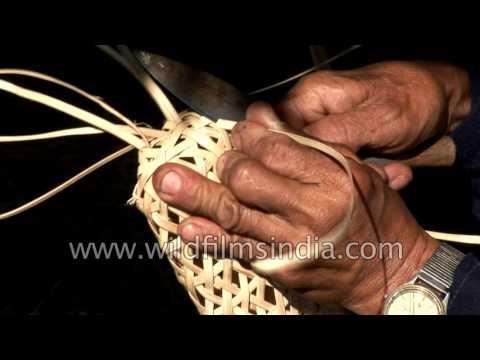 Arunachali man makes a bamboo basket