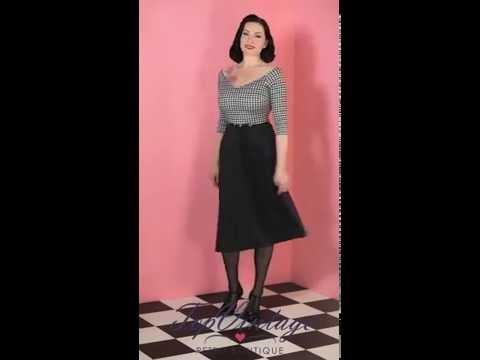 TopVintage - TopVintage exclusive ~ 50s Roxan Black Houndstooth Swing Dress