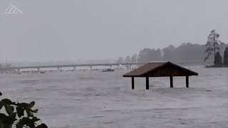 Major flooding to NC towns on Pamlico River from Hurricane Florence