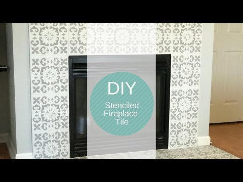 DIY Stenciled Fireplace Tiles/Fireplace Makeover