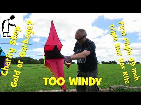 First Flight 49 inch Triple Star Box Kite TOO WINDY