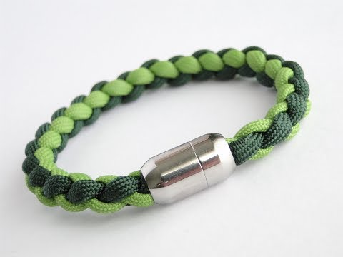 How to Make a Four Strand Round Braid/Magnetic Clasp Paracord Bracelet