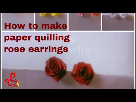 How to make rose stud| paper quilling earrings| how to make paper rose| quilling art| quilling rose
