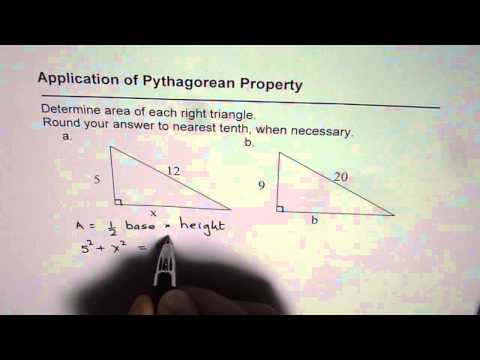 Find Unknown Side and Calculate Area of Right Triangle Pythagorean Application