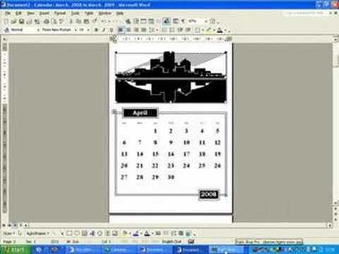 Photo calendars in MS Word