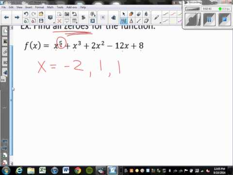 Finding the zeroes of a 5th degree polynomial