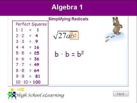 Algebra Simplifying Radicals