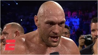 Tyson Fury screams 'bring em all on' after KO of Tom Schwarz | ESPN Boxing