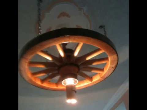 make lamp with wooden wheels