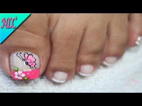 Decoracion De Unas Para Pies Mariposa Y Flor Butterfly Nail Art