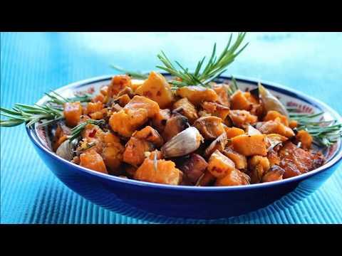 Roasted Garlic Sweet Potatoes with Rosemary Recipe