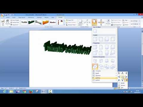How to effect 3d word art on Microsoft Office Word 2007
