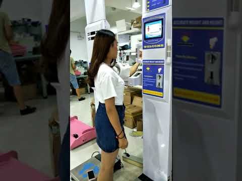 Ultrasonic height and weight  scale with fat mass and blood pressure