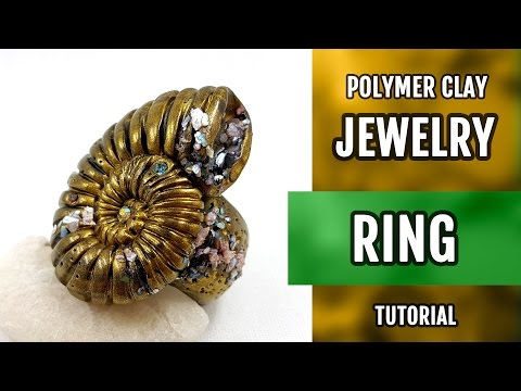 DIY Ring from Polymer Clay with Faux Fossil Shell. VIDEO Tutorial!