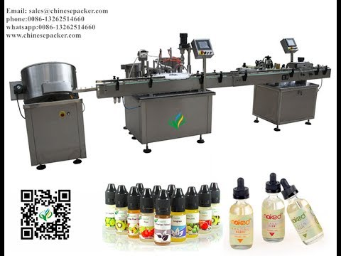 auto e liquid filling line for e-cigarette filler capper and sleeve labeling system with heat tunnel