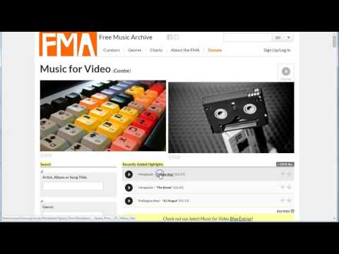 Movie Maker: finding music for your video on Free Music Archive