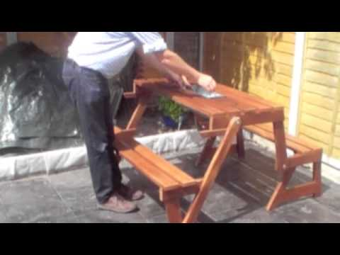2-in-1 Folding picnic table and bench with ice bucket