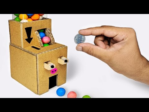 How to make Gumball Candy Dispenser Machine Coin Operated from Cardboard DIY at HOME