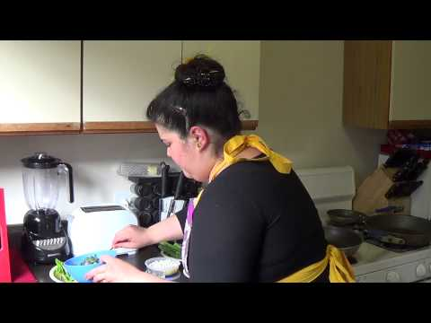 Sun Dried Tomato Polenta Cakes Pt.2-Portobello Asparagus Veggie Medley & Basil Blue Cheese