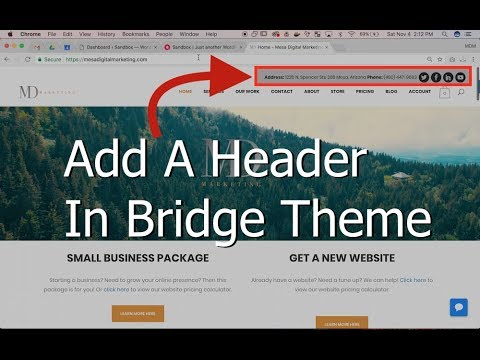 How to Add a Header Using the Bridge Theme for a WordPress Website
