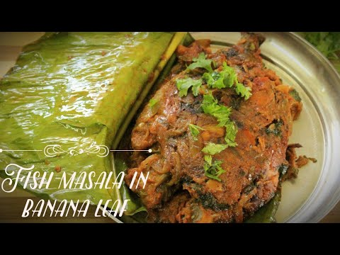 Fish masala in banana leaf - Fish masala - Fish curry - Kerala fish fry - Banana leaf fish fry