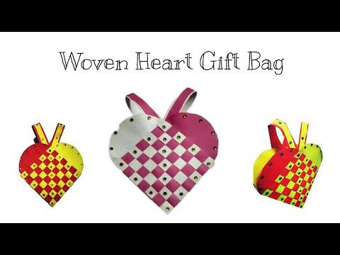 Valentine Gift Bag| Woven Paper Heart gift Bag| Gift Bag for Christmas Tree Decoration| DIY-Gift Bag