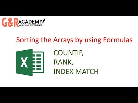 How to Sort the arrays by using formulas in Excel