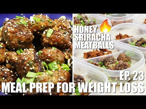 Meal Prep For Weight Loss | Honey Sriracha Meatballs and Zucchini Noodles (Spaghetti)