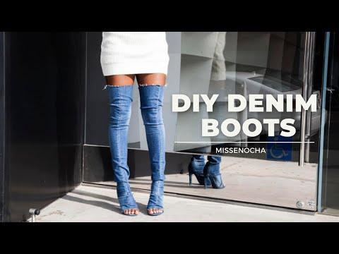DIY DENIM BOOTS TUTORIAL (SUPER EASY!)