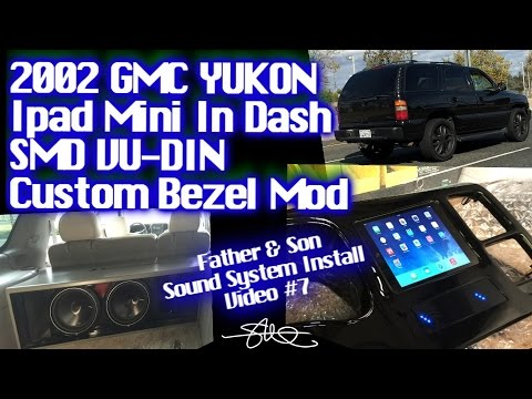 iPad Mini SMD VU-DIN Custom In Dash Bezel Mod - Father & Son Car Audio Install - GMC Yukon Video #7