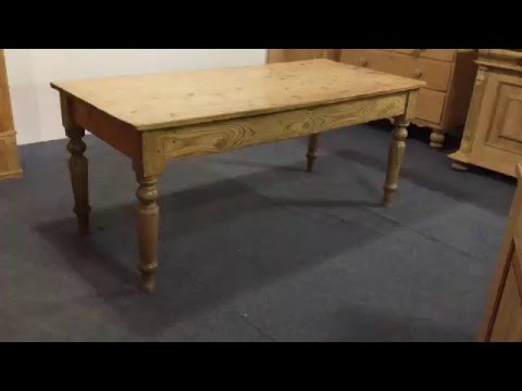 6' old pine table with turned legs - Pinefinders Old Pine Furniture Warehouse Video