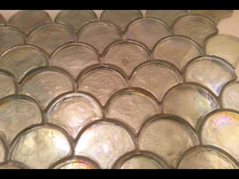 Iridescent fan shape glass mosaic tiles