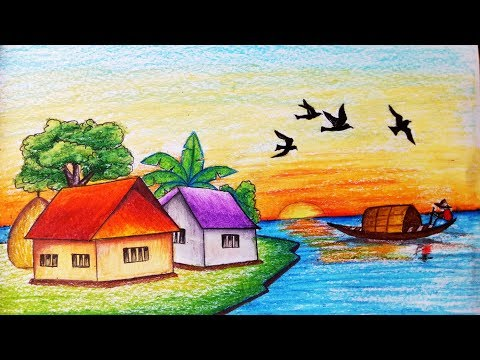 How to draw village scenery of sunset.Step by step(easy draw)