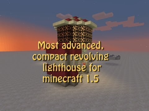 Compact, slowly revolving lighthouse for minecraft 1.5 tutorial, build with redstone lamps