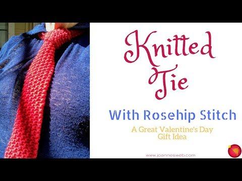 Knitted Tie - Rosehip Knit Stitch - Valentine's Day DIY Gift Ideas- Necktie - Red Heart Yarn