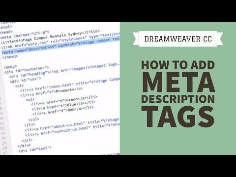 How to add meta description tags in Dreamweaver CC [34/34]